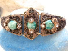 Vintage Bracelet  Embedded Crystals & Turquoise by ReTainReUse, $15.00