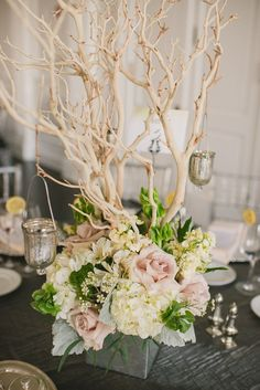 like the branches, dirty pink roses + greenery Philadelphia Wedding with Modern Rustic Glam from Rachel Pearlman Photography