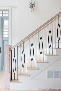 My Very Own Staircase Balusters to Heaven. Sharing details on our AMAZING new staircase railings and a full updated foyer tour! Modern Stair Railing, Wrought Iron Stair Railing, Stair Railing Design, New Staircase, Iron Balusters, Staircase Railings, Modern Stairs, Banisters, Iron Spindle Staircase