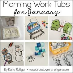 Morning Work Tubs for Kindergarten {January} - Let your kinder students work through these 20 activities. You get materials that need very little planning or prep. Grab a few classroom supplies - such as math manipulatives and playdough - and you'll be on your way. Student instruction cards and all activities are included. Great to celebrate the winter months and have some snowy snowman fun. Click for more details! Great for the classroom OR homeschool.