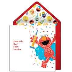 Customizable, free Elmo Scribble online invitations. Easy to personalize and send for a Elmo birthday party. #punchbowl