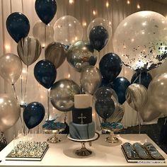 Birthday Goals, Gold Birthday Party, Birthday Balloons, Birthday Party Themes, Simple Birthday Decorations, Blue Party Decorations, Birthday Surprise Boyfriend, Cakes, Baby