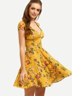 Shop Yellow Floral V Neck Cutout Dress online. SheIn offers Yellow Floral V Neck Cutout Dress & more to fit your fashionable needs. Best Prom Dresses, Cute Dresses, Short Dresses, Summer Dresses, Kids Blouse Designs, Yellow Floral Dress, Mini Vestidos, Cutout Dress, Latest Dress