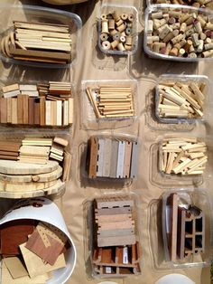 Loose Parts - The Remida Project ≈≈Some of these look like the channeled floor boards cut into small pieces! How fun for kids to fit them together along with everything else!