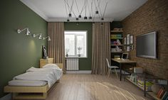 """Комната для мальчика-подростка оформлена в стиле лофт. Стильный интерьер примечателен своим """"промышленным"""" шоком."""