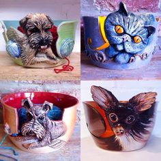 Yarn bowl with your own family pet recreated in three dimensions on the side of it. These photographs are examples only of Slab Ceramics, Play Clay, Crochet Humor, Border Terrier, Yarn Bowl, Sculpture, Crochet Yarn, Pet Portraits, Art Projects