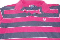 Mens Chaps Ralph Lauren Polo XL Golf Shirt Red Blue White Striped Short Sleeve