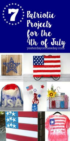 7 fun Patriotic Projects for the 4th of July and Memorial Day including a pom pom flag, hostess gift, USA bag, mason jar vases and more!
