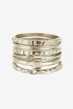 Marcia Moran Assorted Ring Stack. Aztec looking stackables!