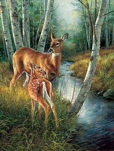 deer doe & fawn ~ Birch Creek by Rosemary Millette
