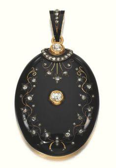 Enamel and diamond pendant locket, circa 1880 - Sotheby's