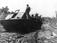 LVT-1 carries Marines to front on Bougainville 1943
