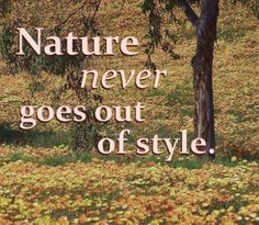 Nature never goes out of style, gardening quote against fall leaves
