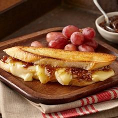 A grilled cheese for grown-ups – Brie cheese and rosemary fig jam sandwiched between French bread slices.