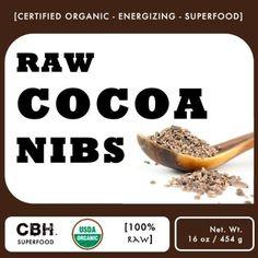 Raw Organic Cocoa Nibs (16 oz) by CBH: Amazon.com: Grocery & Gourmet Food $12.95