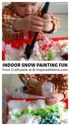 Mama Georgina (of Craftulate) shares how she and her son brings the snow indoors for some #Snow Painting Fun! #kids #winterfun #preschool #kbn