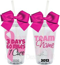 3 Days 60 Miles 1 Cure 3 Day Walk Breast Cancer Pink 16oz Personalized Acrylic Tumbler. $15.00, via Etsy.