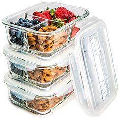 Glass Meal Prep Food Storage Containers - 3 Compartment Container Set with SmartestLock Lids and Cutlery [Comparable to Tupperware] - Microwave, Freezer & Oven safe [3-Pack, 32 oz] by Prep Naturals
