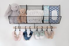 Project Nursery - Above Crib Diaper Storage with Baby Shoe Display - Project Nursery
