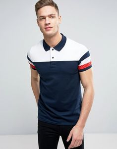 Tommy Hilfiger Color Block Polo Slim Fit in Navy Polo Shirt Style, Polo Shirt Outfits, Polo Rugby Shirt, Mens Polo T Shirts, New T Shirt Design, Golf Shirts, Mens Tees, Shirt Designs, Men's Polo