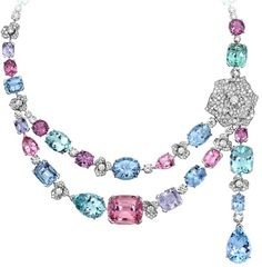 Limelight Garden Party necklace - Piaget Rose in 18K white gold set with 396 brilliant-cut diamonds, green tourmalines, pink tourmalines, mauve spinels, pink spinels, aquamarines, green beryls, and 1 lavender sapphire.