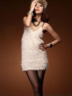 White Blend Spaghetti Straps Sexy One Size Dress@A8059