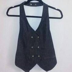 Denim halter top vest Navy blue with gold pin stripe detail,  halter top vest with gold buttons in the front DKNY Tops