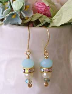 aqua opal swarovski crystal dangle earrings with gold plated rondelles and glass pearls no.06 on Etsy, $10.00