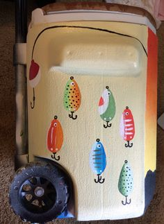 Fishing lure cooler for Father's Day Fraternity Coolers, Frat Coolers, Sorority Canvas, Sorority Paddles, Sorority Recruitment, Nola Cooler, Formal Cooler Ideas, Cooler Designs, Cooler Painting