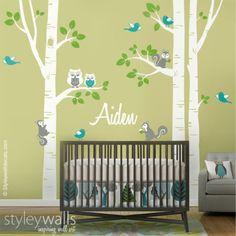 Dieser Wald Tiere Birken Aufkleber Packung wäre ein perfekter Abschluss für die Kindertagesstätte Ihr Baby oder Kinderzimmer sein.   Die ganze Szene Maßnahmen: 287cm x 254cm Das Design wird in...