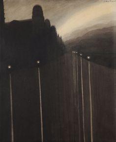mythologyofblue:  Léon Spilliaert,La digue de mer, Ostende (The Sea Wall, Ostend),1908      (sugarmeows)