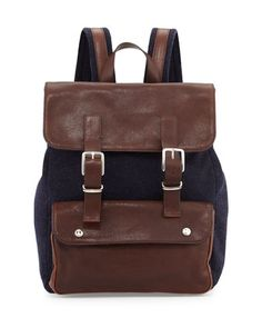 Buffalo Leather Backpack, Navy/Brown by Brunello Cucinelli at Bergdorf Goodman.