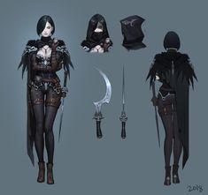 ArtStation - Assassin Crow concept, Seok Jeon Female Character Design, Character Design References, Character Design Inspiration, Character Concept, Character Art, Concept Art, Dungeons And Dragons Characters, Dnd Characters, Fantasy Characters