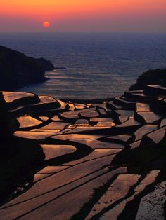 Sunset in terraced rice fields/Tanada/棚田, Hamanoura, Genkai-cho, Saga, Japan Japan Destinations, Sea Of Japan, Saga, Island Nations, Green Landscape, Ciel, Japan Travel, Airplane View, Landscape Photography