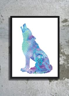 Blue Wolf Watercolor Art Print Wolf painting Wolf poster Animal watercolor Wolf illustration Blue home decor Children room nursery Boy gift