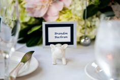 Pig Escort Card Holder with Navy and White Escort Cards | DC Fairmont Wedding | Kurstin Roe Photography