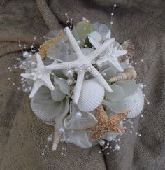 sea shell bouquet, sea shell brides bouquet, nautical, coastal wedding bouquet, brooch alternative, beach bouquet shells, starfish