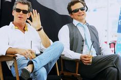 "on the set of ""mamma mia"", pierce brosnan & colin firth."