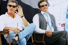"""On the set of """"Mamma Mia"""", Pierce Brosnan & Colin Firth. Mamma Mia, Movie Shots, Movie Tv, Tv Actors, Actors & Actresses, Mr Darcy, Emma Thompson, Pierce Brosnan, Colin Firth"""