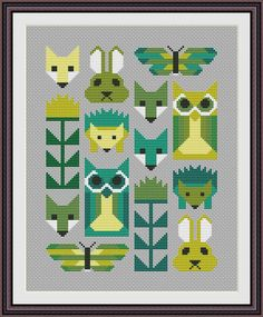 Animal Geometric Modern Cross stitch pattern by CrossStitchForYou Cross Stitch Owl, Butterfly Cross Stitch, Cross Stitch Animals, Cross Stitching, Cross Stitch Embroidery, Modern Cross Stitch Patterns, Cross Stitch Designs, Hama Beads, Blackwork