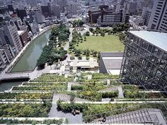 ACROS Fukuoka (Asian Crossroads over the Sea) building attempts to maintain green space with it's tiered green roof system.