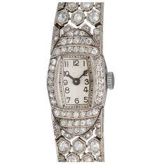 1stdibs | Art Deco Diamond and Platinum Watch