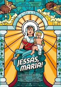 "Poster and cover for the short movie ""Jessas, Maria!""Catholic bavaria collides with Bollywood:The birth of the messiah oddly interpreted.Credit for the typography goes to Christian Koecher!"