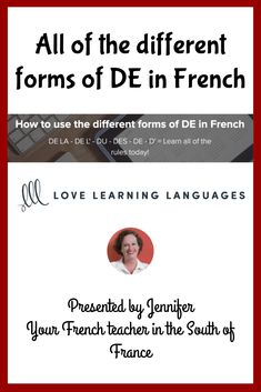 """This is a complete lesson on how to use French """"DE"""". You'll no longer be so confused when it comes to choosing between DE LA - DE L'- DU - DES - DE - D'.The first step is to watch my video tutorial carefully and take notes. I've included an easy to print out lesson guide so that you will have all of the examples used in the video written down for you, and you'll have a quick reference to pull out when you need to remember a rule. Saint Louis University, University High School, French Teacher, Teaching French, Learn French Online, Online Quizzes, Learning Styles, How To Speak French, French Lessons"""