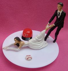 wedding cake topper cincinnati reds g baseball themed w by wedset 5999