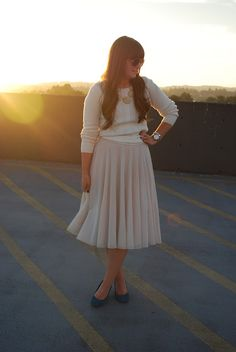 Sam Rosen: fall whites. Old Navy sweater, H and M Skirt, Target wedges, BaubleBar necklace, Urban Outfitters sunnies