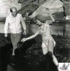 Ray Harryhausen and Raquel Welch during the making of 'One Million Years B.C'.