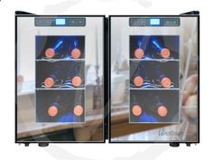 Vinotemp 12-Bottle Dual-Zone Touch Screen Mirrored Wine Cooler