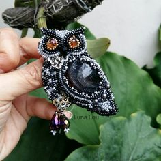 Owl brooch  Beads embroidery