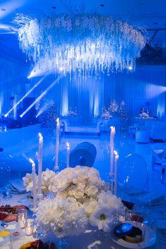 Quinceanera Planning, Quinceanera Decorations, White Wedding Decorations, Wedding Ideas, Galaxy Wedding, Blue Wedding, Winter Wonderland Wedding Theme, Blue Centerpieces, Las Vegas Weddings